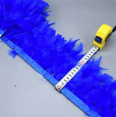 Тесьма из перьев индейки 13-18 см, 1м. - Синего цвета