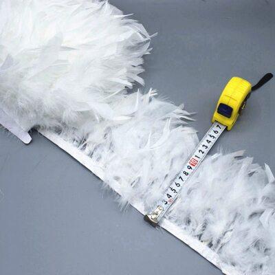 Тесьма из перьев индейки 13-18 см, 1м. - Белый цвет