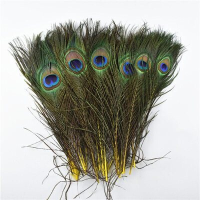 Перья павлина 25-32 см. 1 шт. Желтые