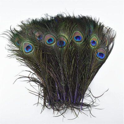 Перья павлина 25-32 см. 1 шт. Фиолетовые