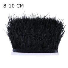 Перья страуса на ленте 8-10 см, 1м. - Черный цвет