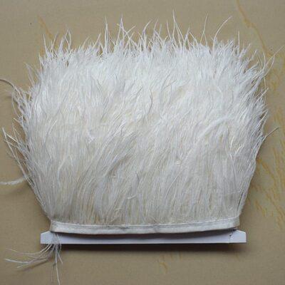 Тесьма из перьев страуса 13-15 см, 1м. - Молочный