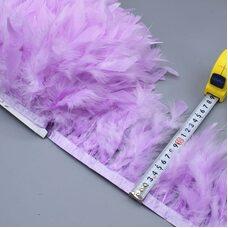 Тесьма из перьев индейки 13-18 см, 1м. - Светло-фиолетовый цвет