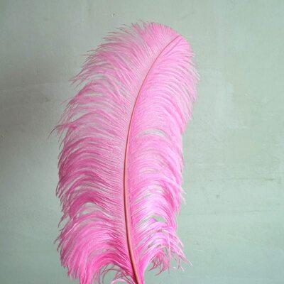 Премиум перья страуса 55-60 см. Розовый цвет