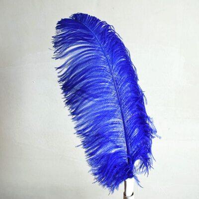Премиум перья страуса 55-60 см. Синий цвет