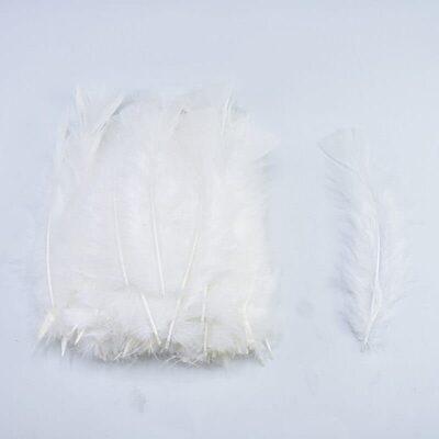 Плоские перья индейки 12-18 см. 20 шт. Белый цвет