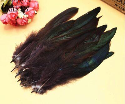 Перья петуха двухцветные 12-18 см. 20 шт. Темно-коричневый цвет