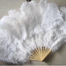 Большой веер из перьев страуса, 13 линий - 1 шт. - Белый цвет