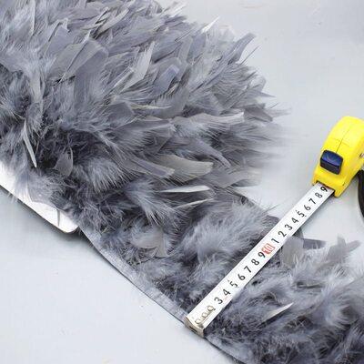 Тесьма из перьев индейки 13-18 см, 1м. - Серый цвет