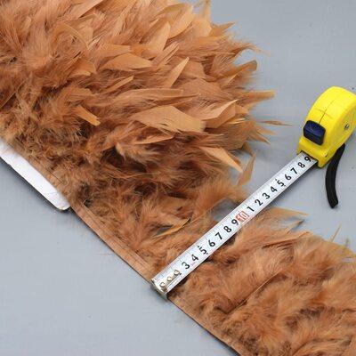 Тесьма из перьев индейки 13-18 см, 1м. - Светло-коричневый цвет