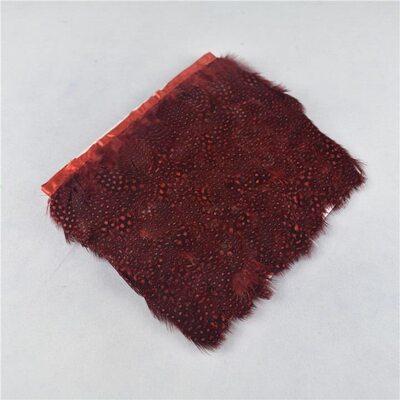 Тесьма из перьев цесарки 6-10 см, 1м. Красный цвет