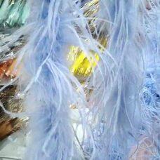 Боа из перьев страуса, 2 нити, длинна 2м. - Голубые 003