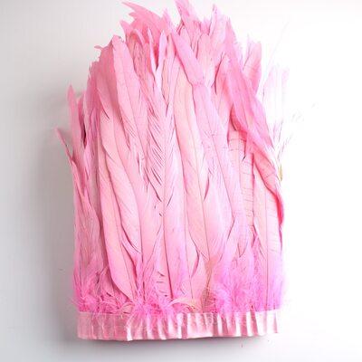 Тесьма из перьев петуха на ленте 25-30 см. Розовый цвет
