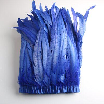Тесьма из перьев петуха на ленте 25-30 см. Синего цвета