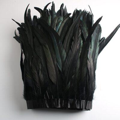 Тесьма из перьев петуха на ленте 25-30 см. Черный цвет