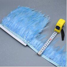 Тесьма из перьев петуха на ленте 10-15 см. Светло-голубой цвет