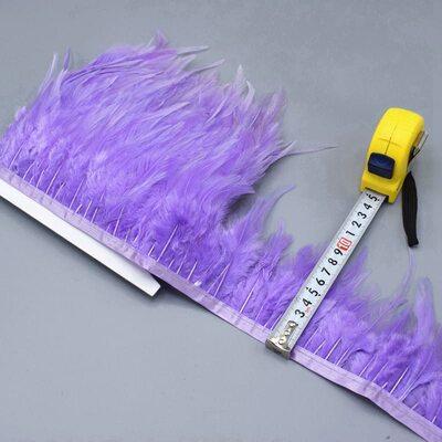 Тесьма из перьев петуха на ленте 10-15 см. Светло-фиолетовый цвет