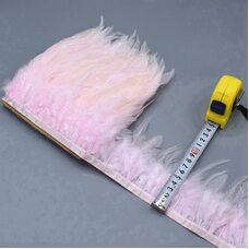 Тесьма из перьев петуха на ленте 10-15 см, 1м. Светло-розовый цвет