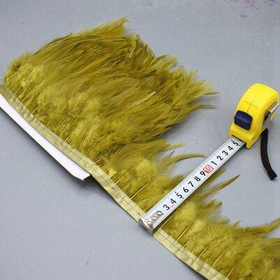 Тесьма из перьев петуха на ленте 10-15 см. Цвет 008