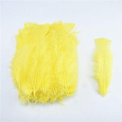 Плоские перья индейки 12-18 см. 20 шт. Жёлтый цвет