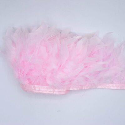 Тесьма из перьев индейки 13-18 см, 1м. - Светло-розовый цвет