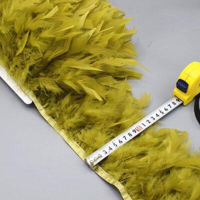 Тесьма из перьев индейки 13-18 см, 1м. - Оливковый цвет