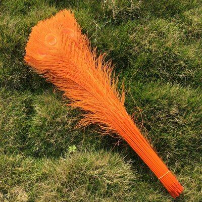 Цветные перья павлина 70-80 см. Оранжевый цвет