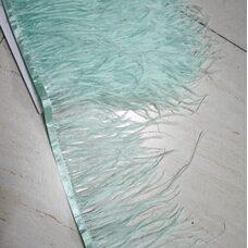 Перья страуса на ленте 15-18 см, 1м. - Мятный цвет