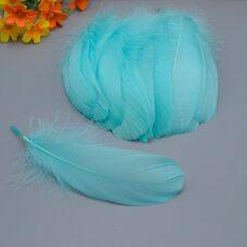 Пушистые перья гуся 13-18 см, 20 шт. Морская волна