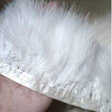 Тесьма из перьев марабу на ленте 9-10 см, 1м. Белый цвет