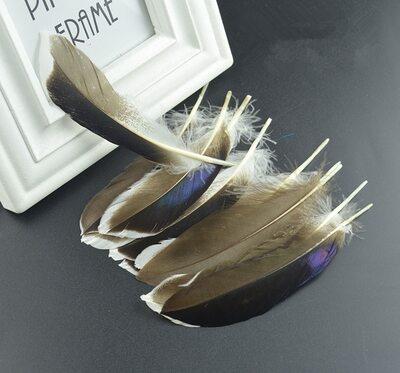Перья утки 10-15 см. с отливом 10 шт. Натуральный цвет