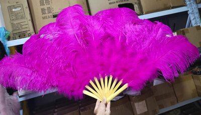 Большой веер из перьев страуса, 10 линий, 1 шт. - Фуксия