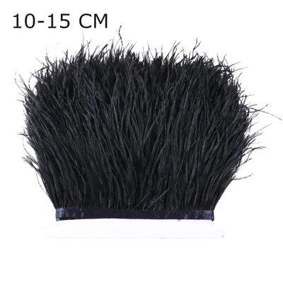 Тесьма из перьев страуса 13-15 см, 1м. - Черный цвет