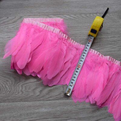 Тесьма из перьев гуся 15-20 см, 1м. Розовый цвет