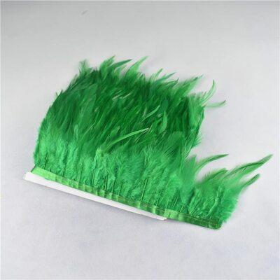 Тесьма из перьев петуха на ленте 10-15 см. Зеленый цвет