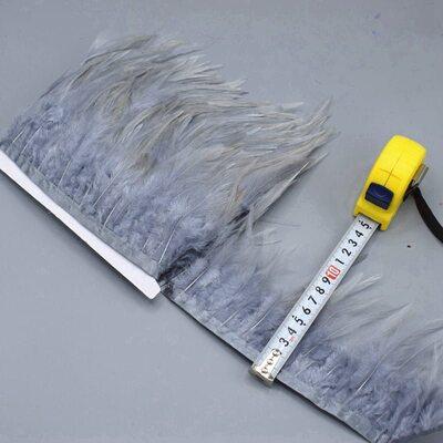Тесьма из перьев петуха на ленте 10-15 см, 1м. Серый цвет