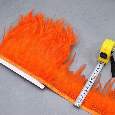Тесьма из перьев петуха на ленте 10-15 см, 1м. Оранжевый цвет
