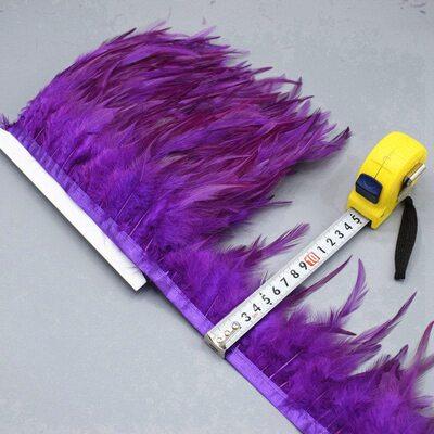 Тесьма из перьев петуха на ленте 10-15 см, 1м. Фиолетовый цвет