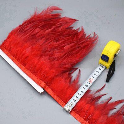 Тесьма из перьев петуха на ленте 10-15 см, 1м. Красный цвет