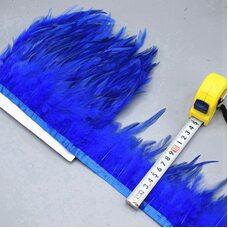 Тесьма из перьев петуха на ленте 10-15 см, 1м. Синего цвета