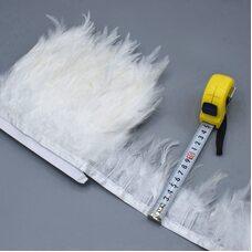 Тесьма из перьев петуха на ленте 10-15 см, 1м. Белый цвет