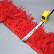 Тесьма из перьев индейки 13-18 см, 1м. - Красный цвет