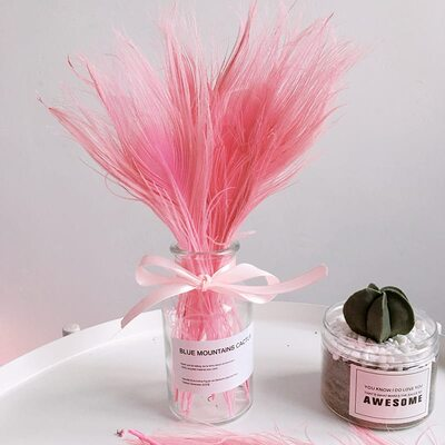 Цветные перья павлина 25-30 см. Розовый цвет