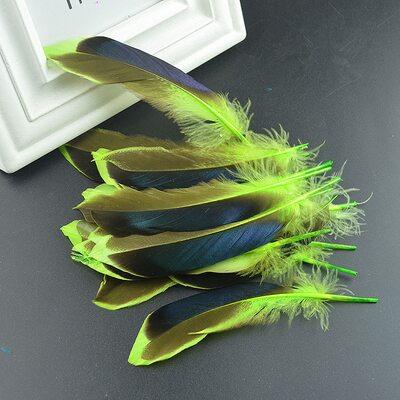 Перья утки 10-15 см. с отливом 10 шт. Зеленый цвет