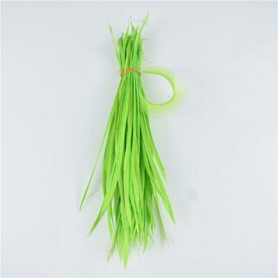 Перья гуся 15-20 см. биот (нити) - 10 шт. Зеленое яблоко