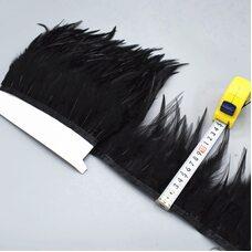 Тесьма из перьев петуха на ленте 10-15 см, 1м. Черный цвет